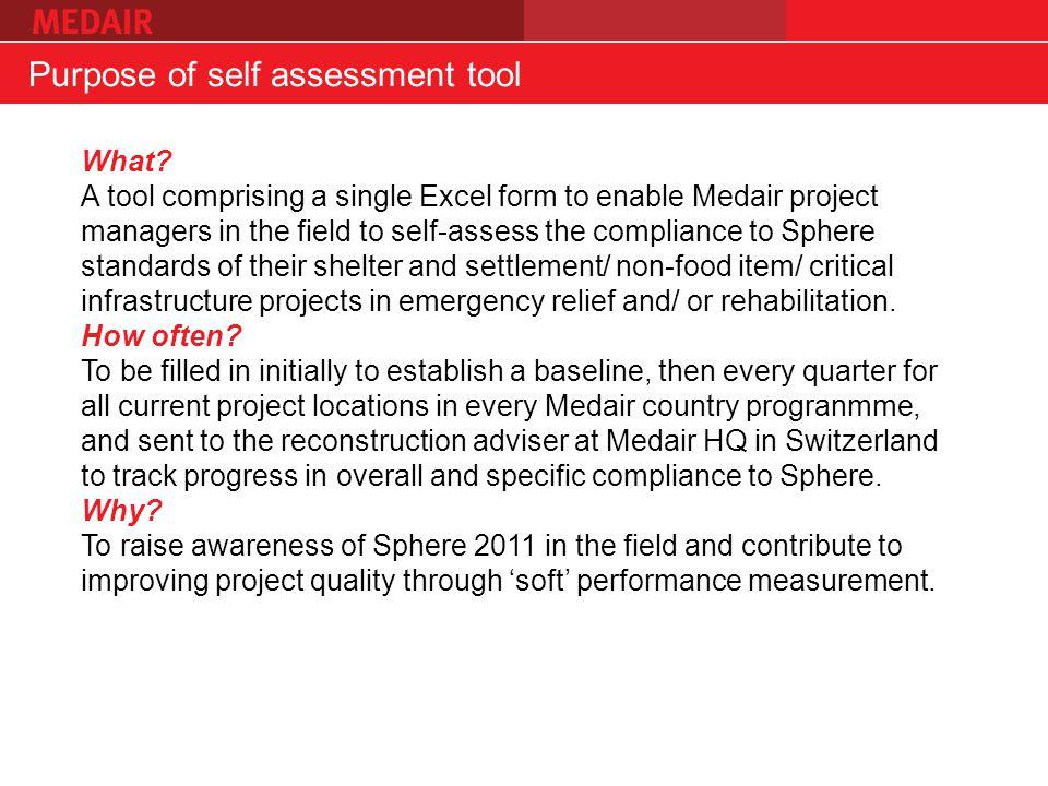 Purpose of self assessment tool