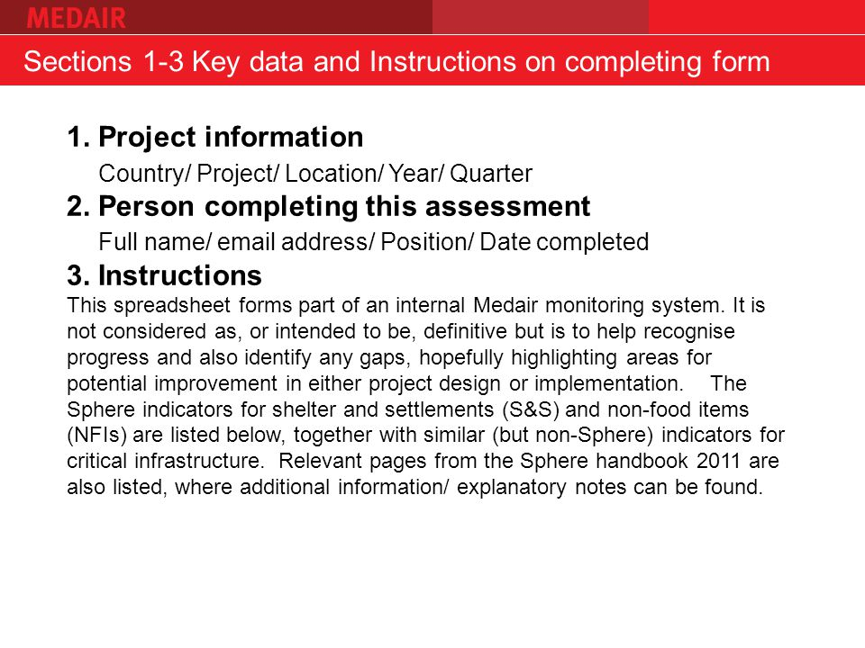 Sections 1-3 Key data and Instructions on completing form