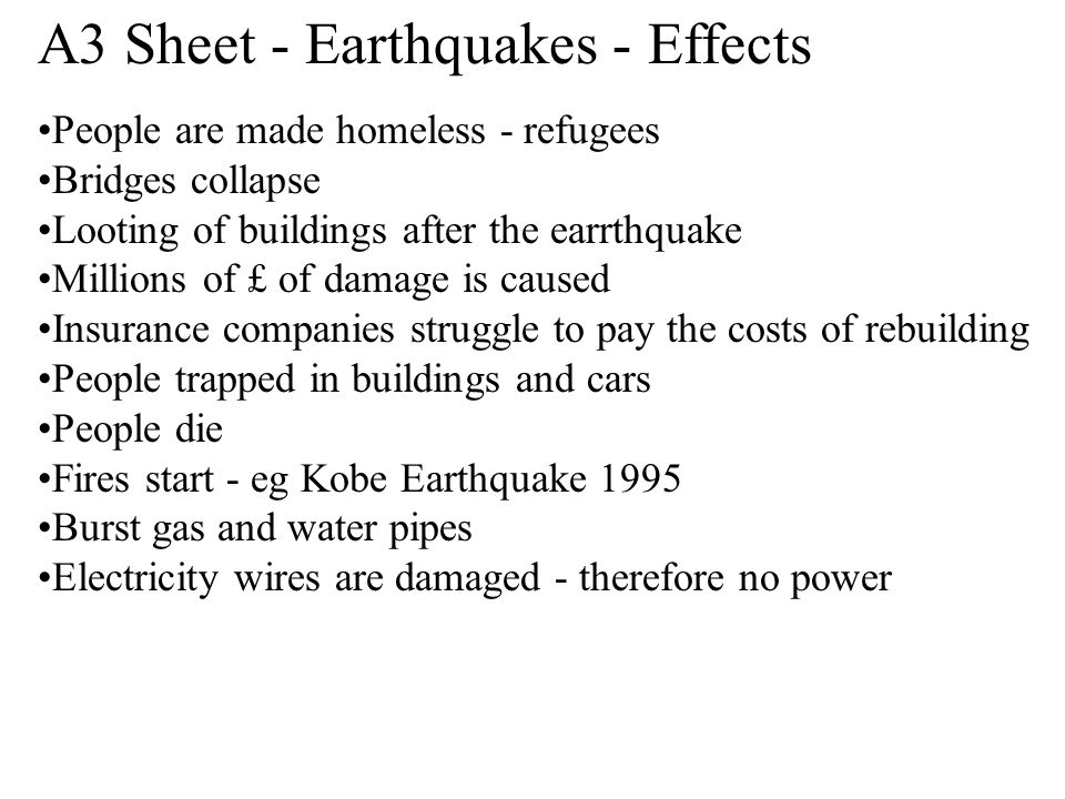 A3 Sheet - Earthquakes - Effects