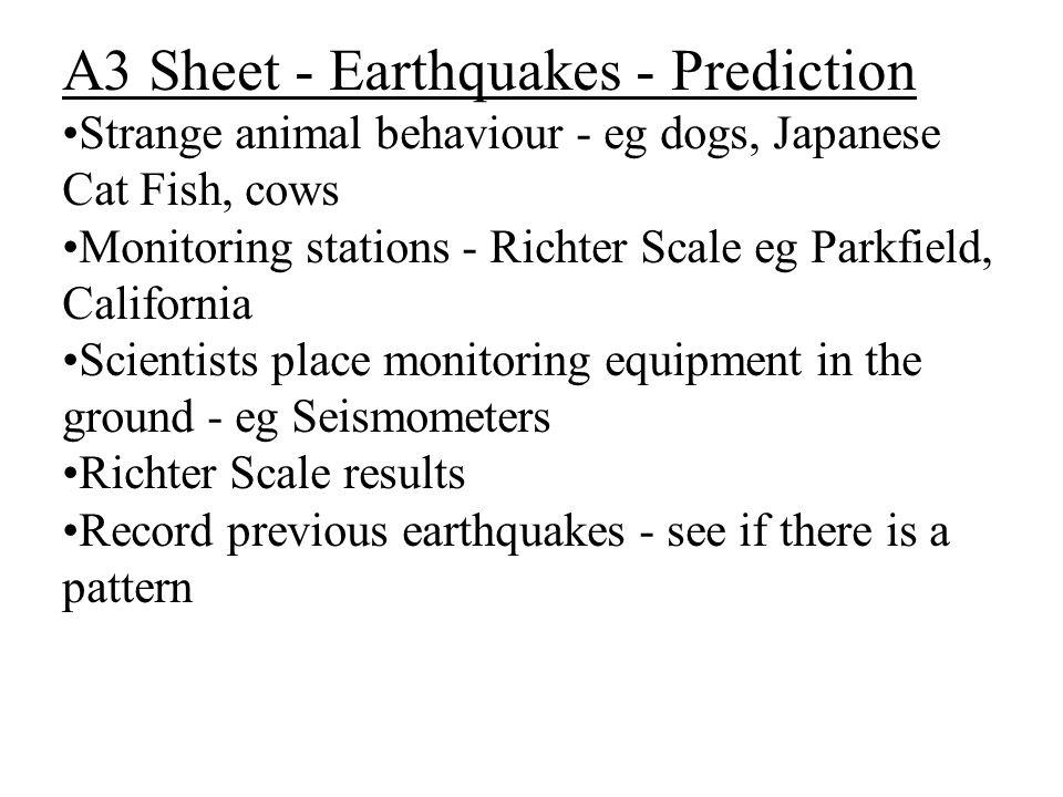 A3 Sheet - Earthquakes - Prediction