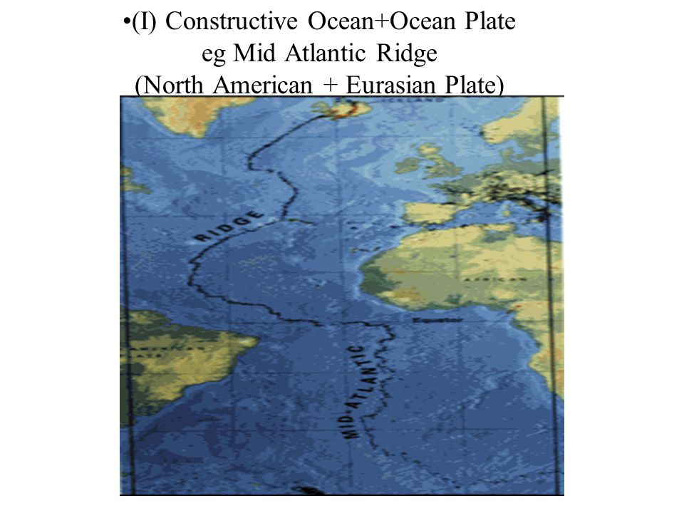 (I) Constructive Ocean+Ocean Plate eg Mid Atlantic Ridge (North American + Eurasian Plate)