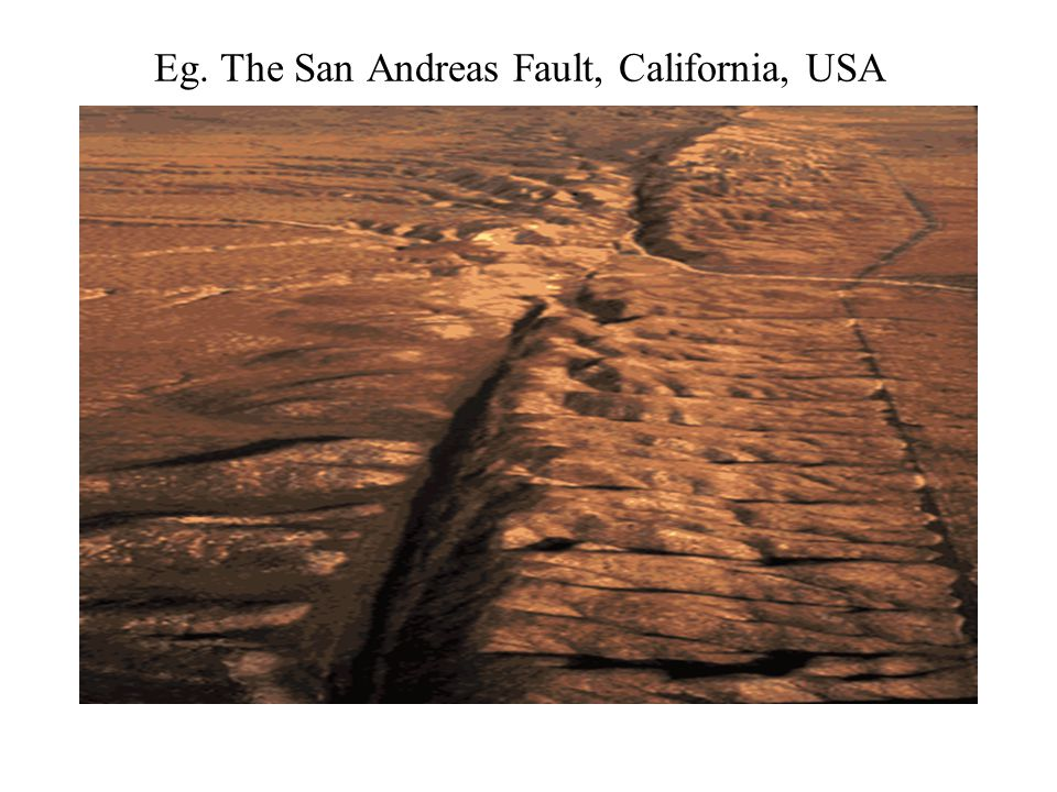 Eg. The San Andreas Fault, California, USA