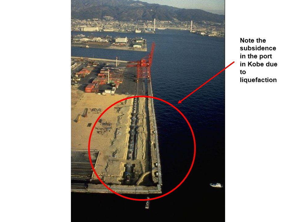 Note the subsidence in the port in Kobe due to liquefaction