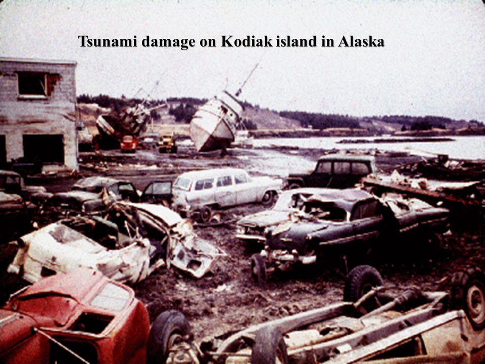 Tsunami damage on Kodiak island in Alaska