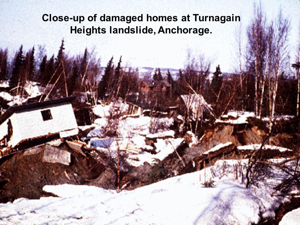 Close-up of damaged homes at Turnagain Heights landslide, Anchorage.
