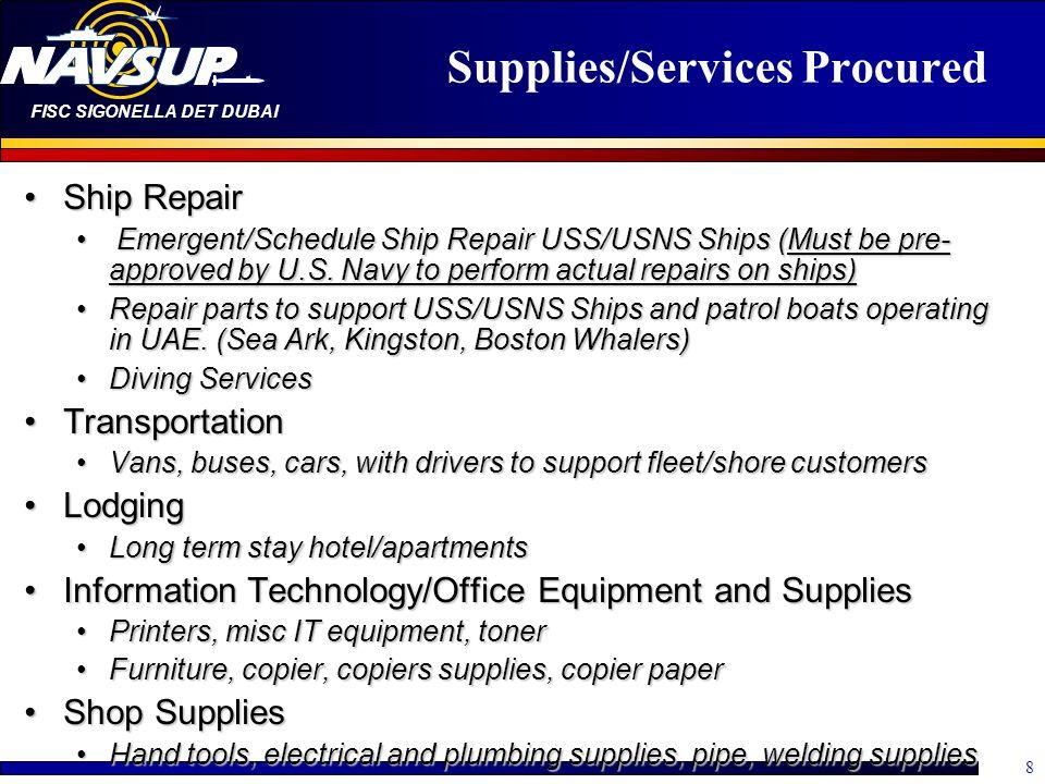 Supplies/Services Procured