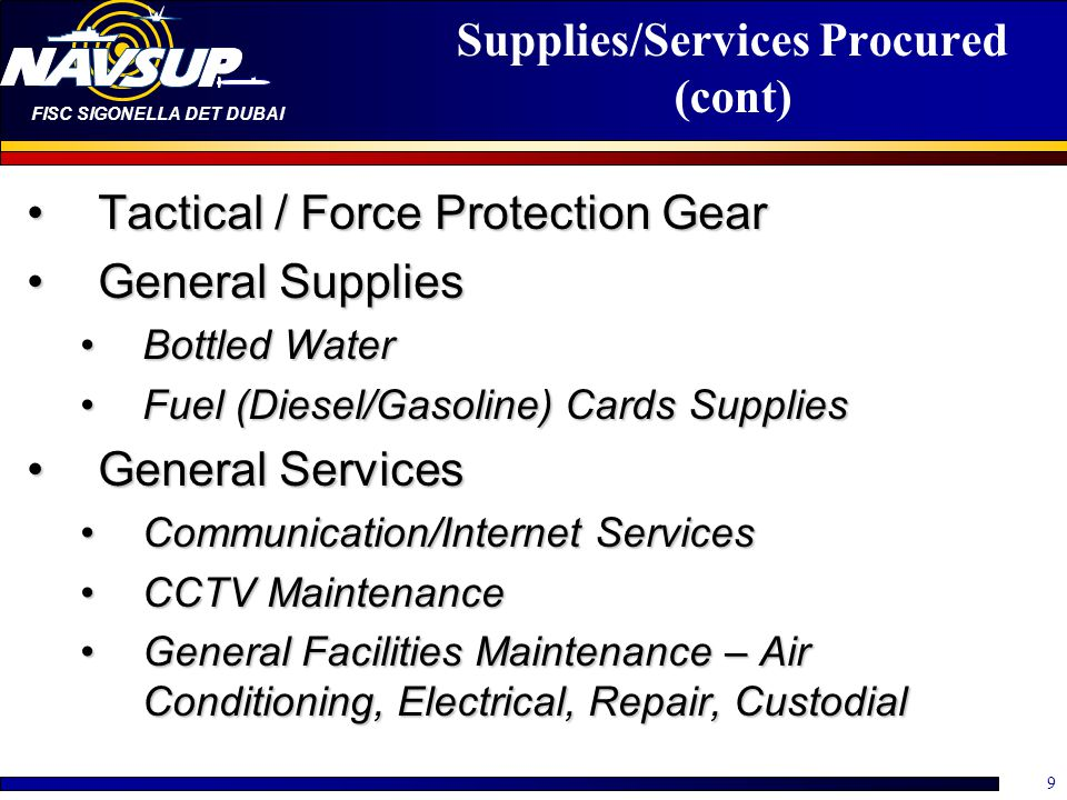 Supplies/Services Procured (cont)