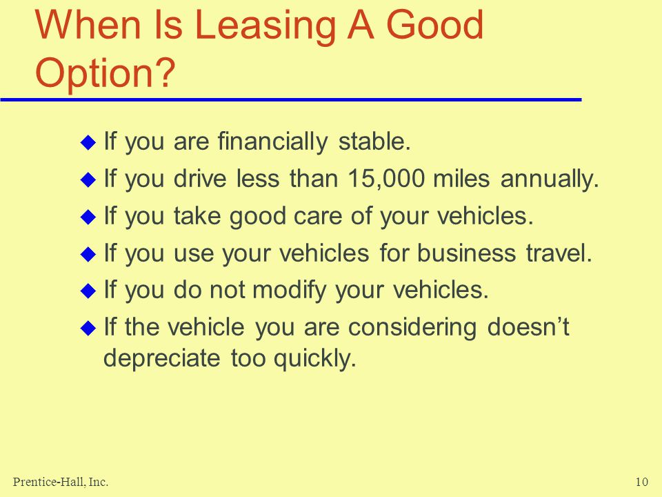 When Is Leasing A Good Option