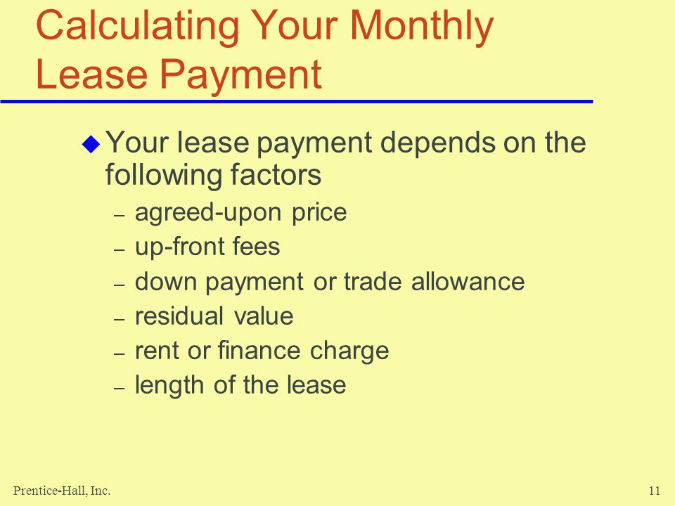 Calculating Your Monthly Lease Payment