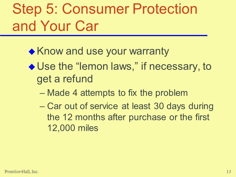 Step 5: Consumer Protection and Your Car