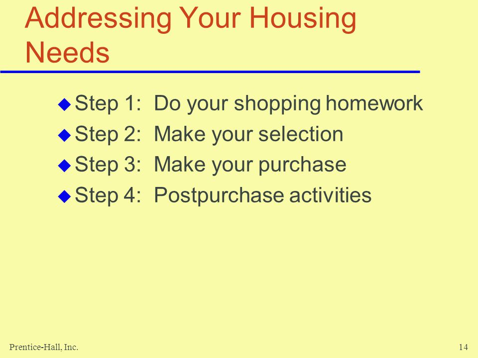Addressing Your Housing Needs
