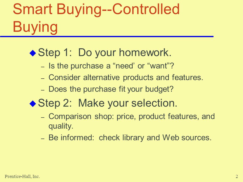 Smart Buying--Controlled Buying