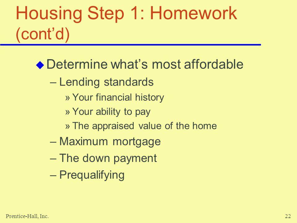 Housing Step 1: Homework (cont'd)