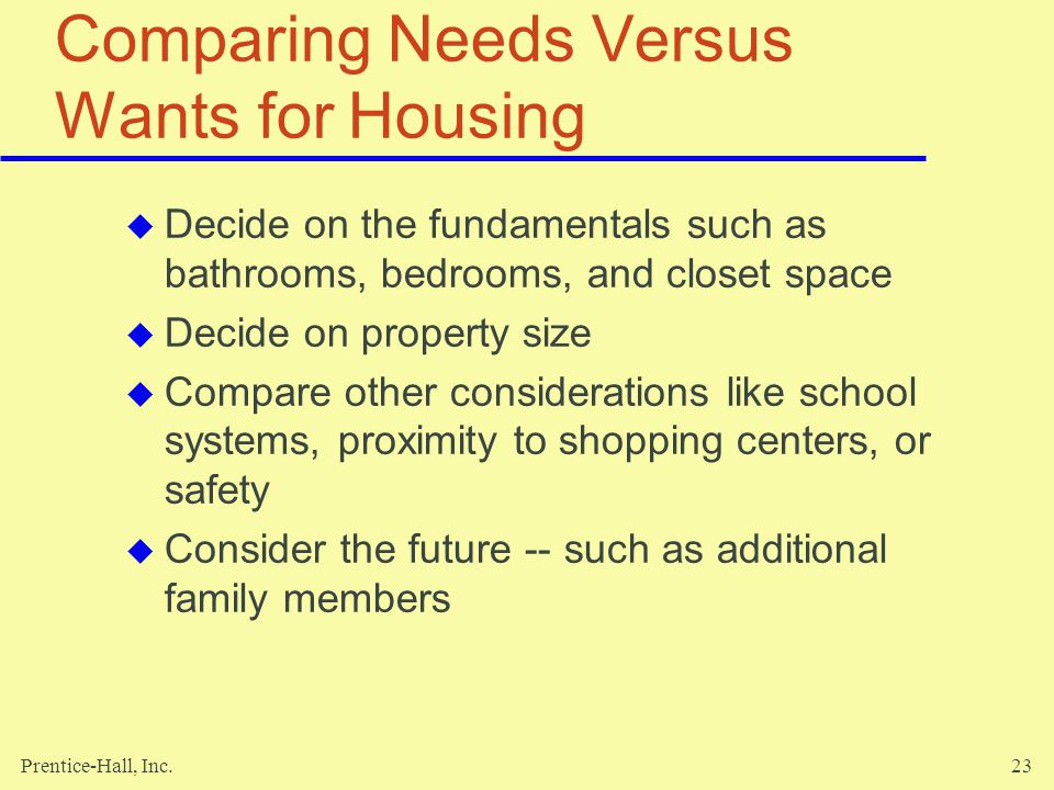 Comparing Needs Versus Wants for Housing