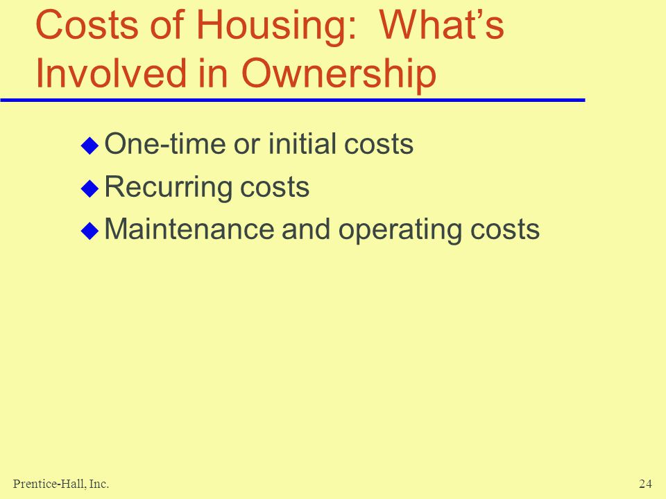 Costs of Housing: What's Involved in Ownership