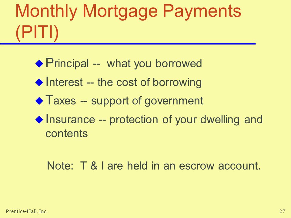 Monthly Mortgage Payments (PITI)