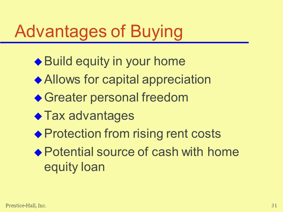 Advantages of Buying Build equity in your home