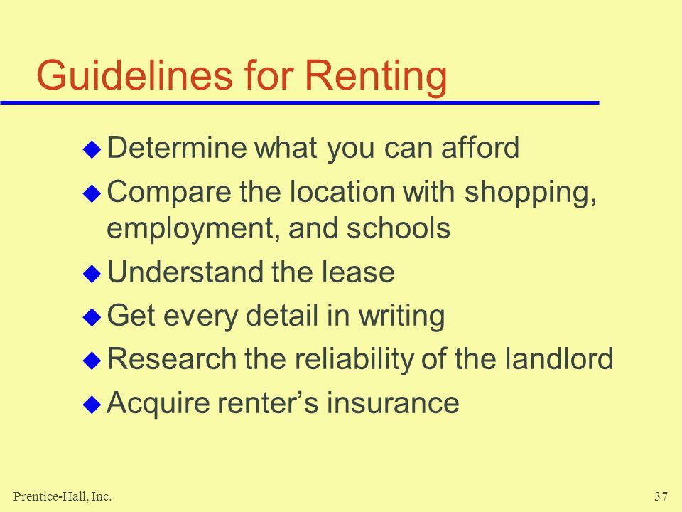 Guidelines for Renting