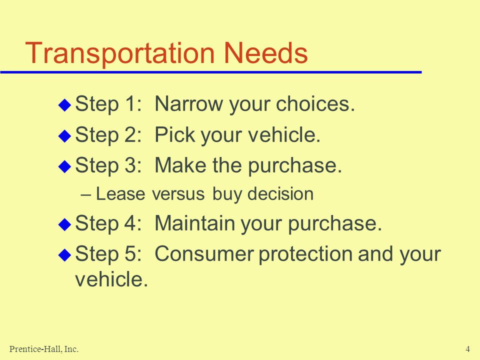 Transportation Needs Step 1: Narrow your choices.