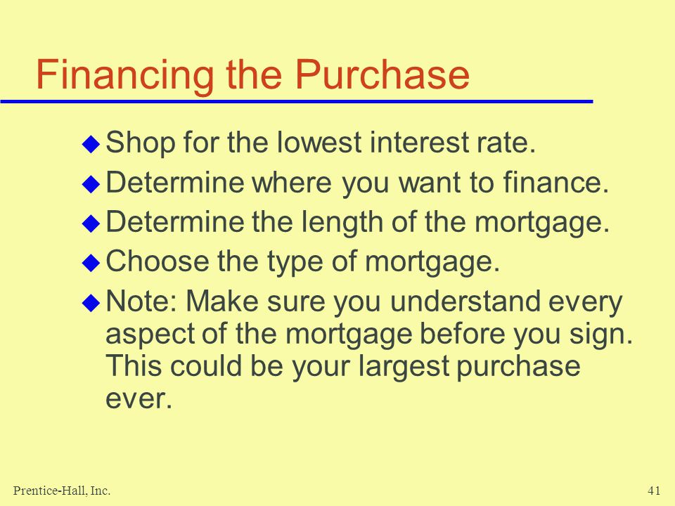 Financing the Purchase
