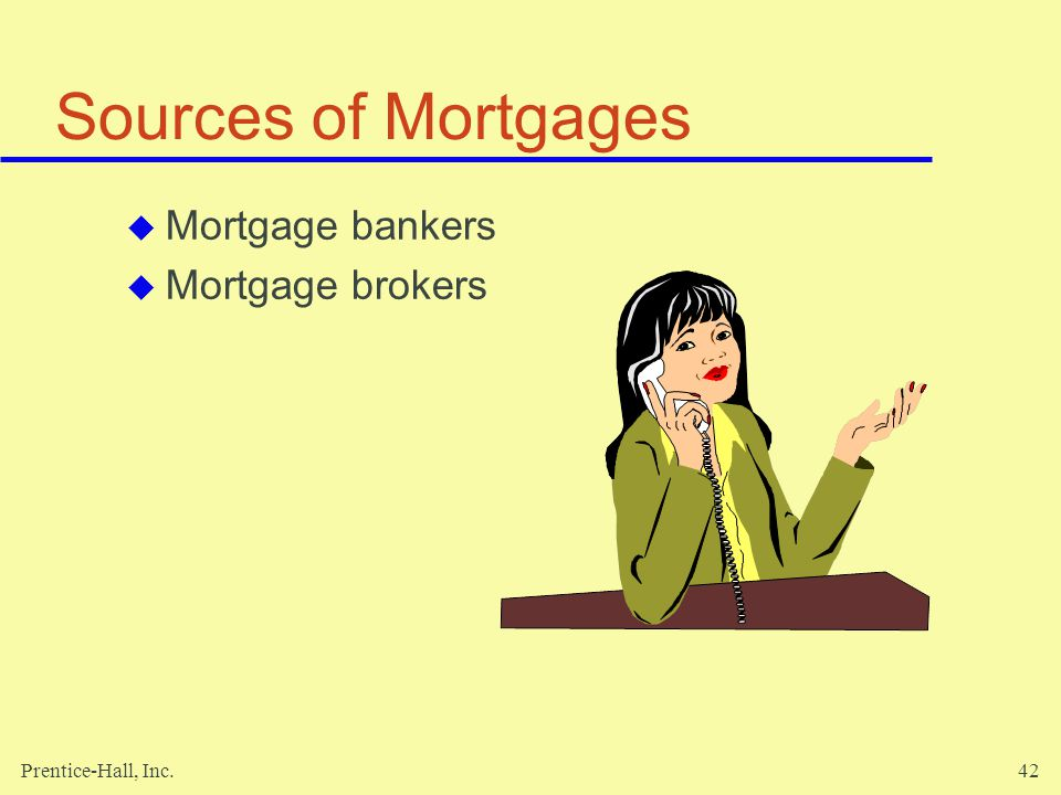 Sources of Mortgages Mortgage bankers Mortgage brokers