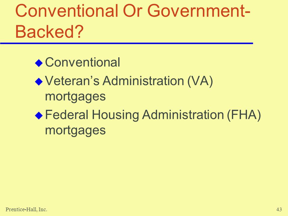 Conventional Or Government-Backed