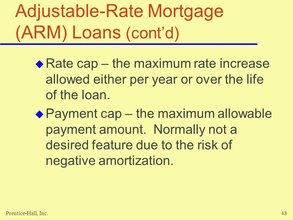 Adjustable-Rate Mortgage (ARM) Loans (cont'd)
