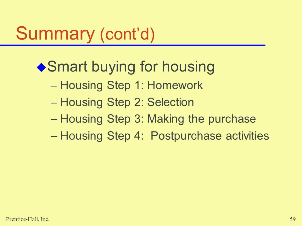 Summary (cont'd) Smart buying for housing Housing Step 1: Homework