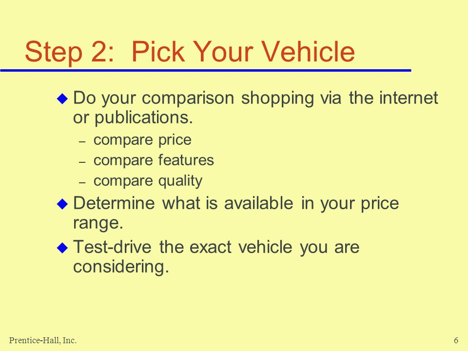 Step 2: Pick Your Vehicle