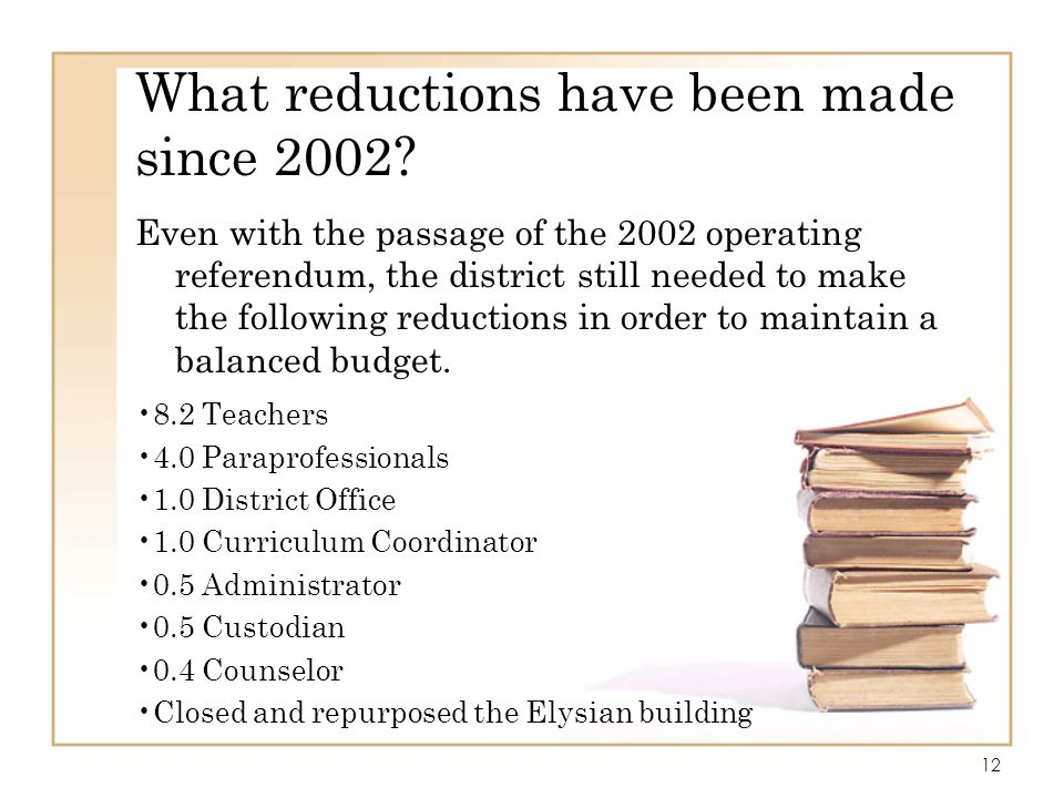 What reductions have been made since 2002