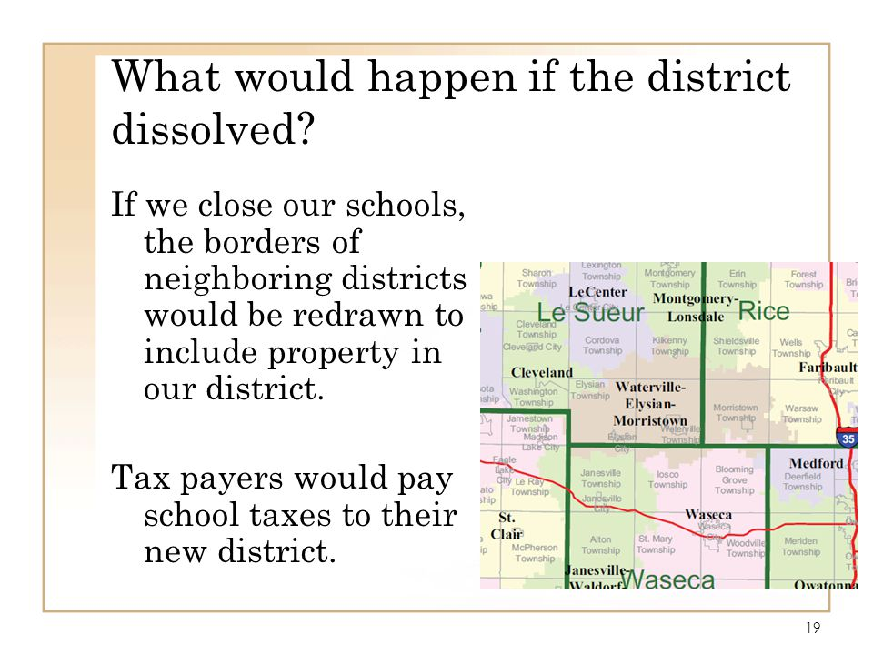 What would happen if the district dissolved
