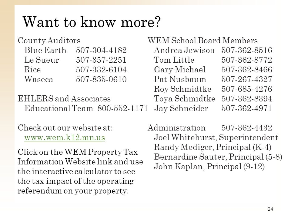 Want to know more County Auditors WEM School Board Members