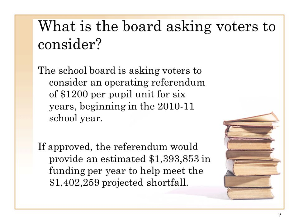 What is the board asking voters to consider