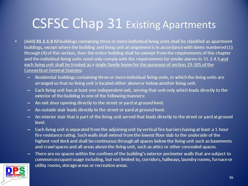 CSFSC Chap 31 Existing Apartments
