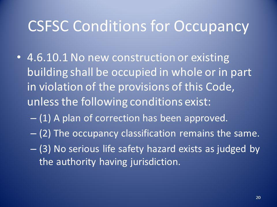 CSFSC Conditions for Occupancy