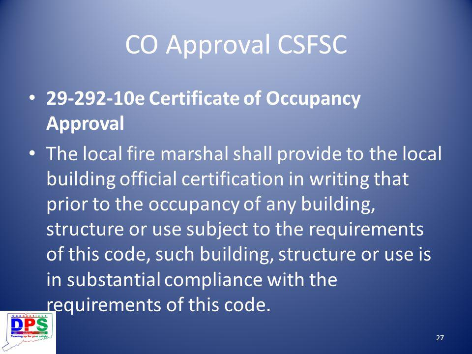 CO Approval CSFSC 29-292-10e Certificate of Occupancy Approval