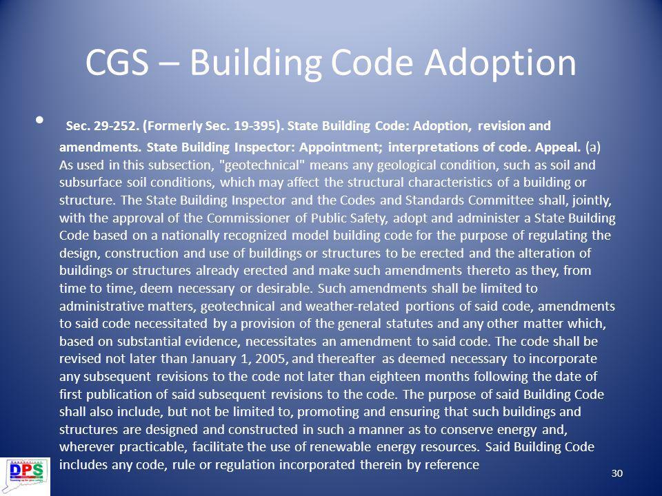 CGS – Building Code Adoption