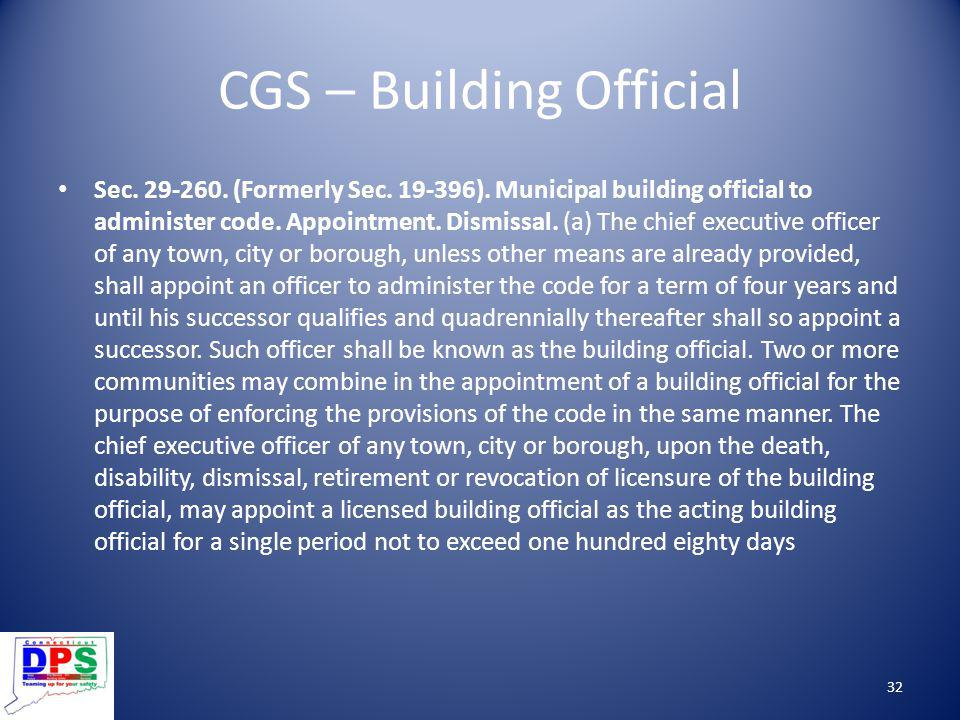 CGS – Building Official