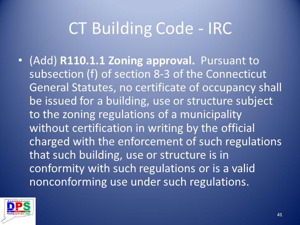 CT Building Code - IRC