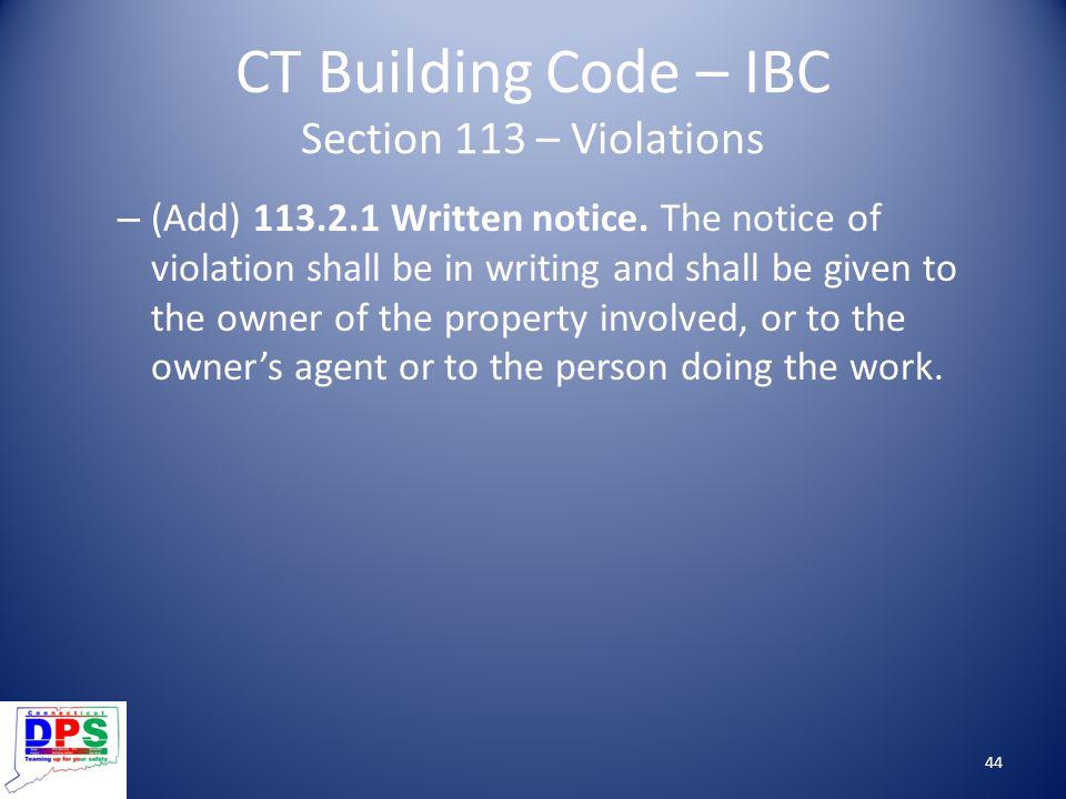 CT Building Code – IBC Section 113 – Violations