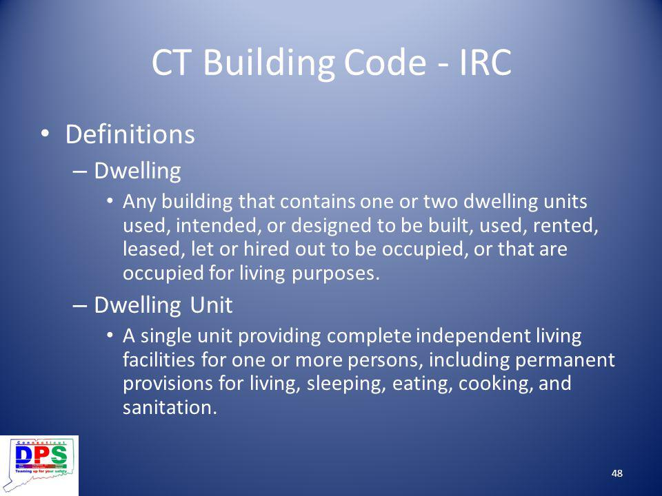 CT Building Code - IRC Definitions Dwelling Dwelling Unit