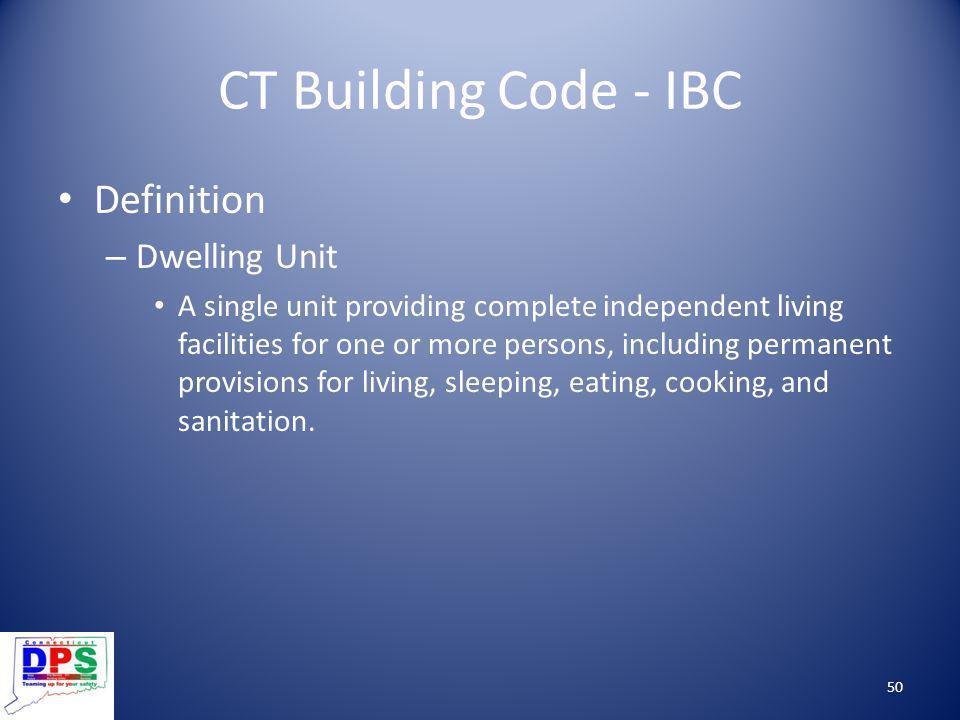 CT Building Code - IBC Definition Dwelling Unit