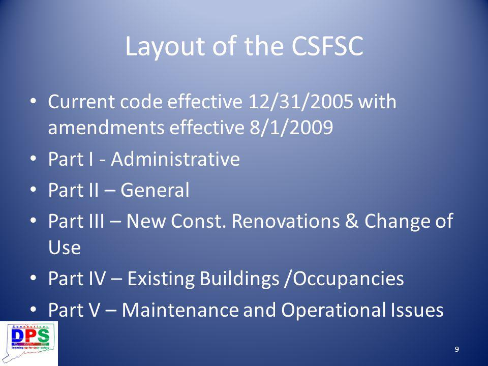 Layout of the CSFSC Current code effective 12/31/2005 with amendments effective 8/1/2009. Part I - Administrative.