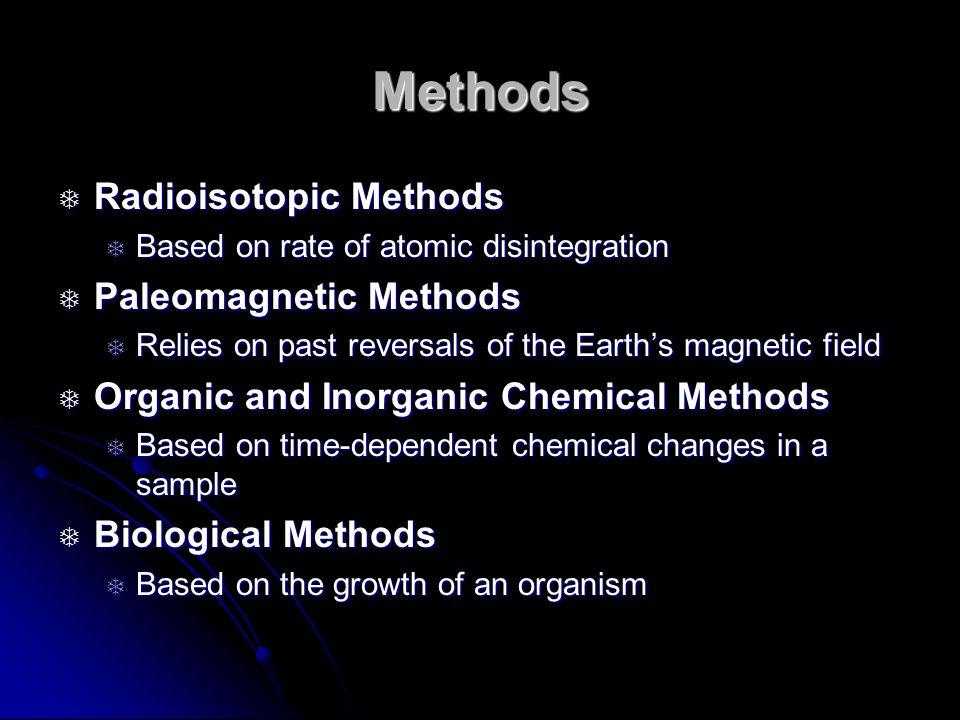 Methods Radioisotopic Methods Paleomagnetic Methods