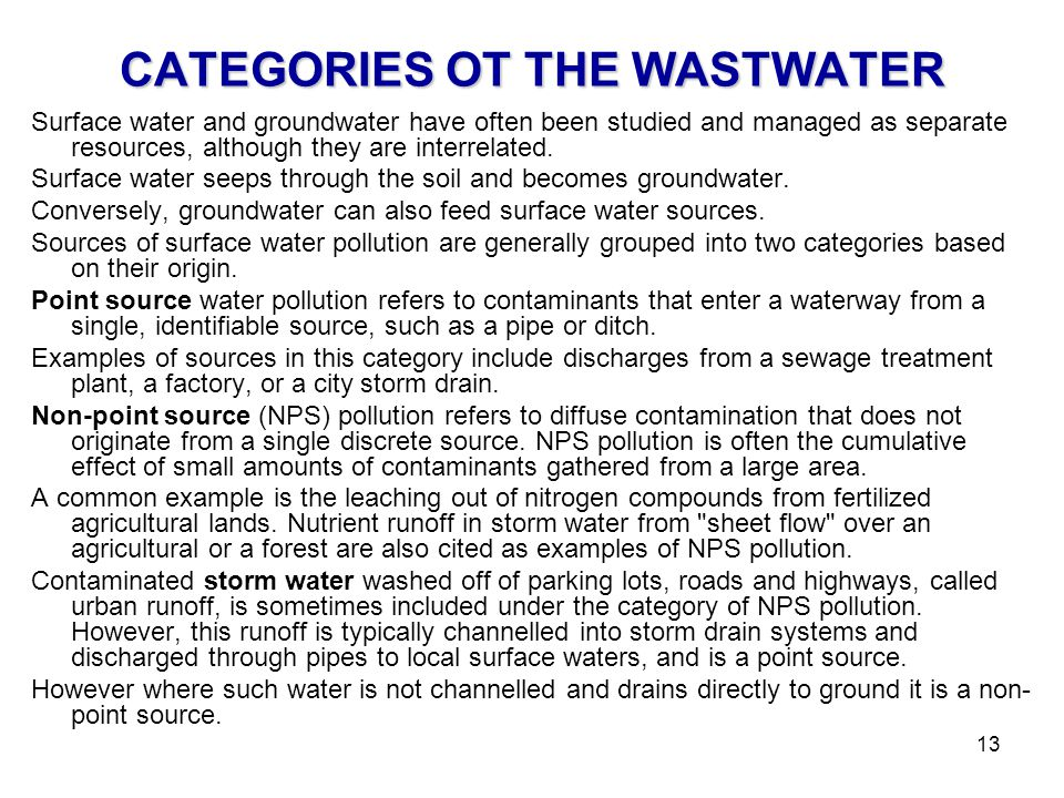 CATEGORIES OT THE WASTWATER