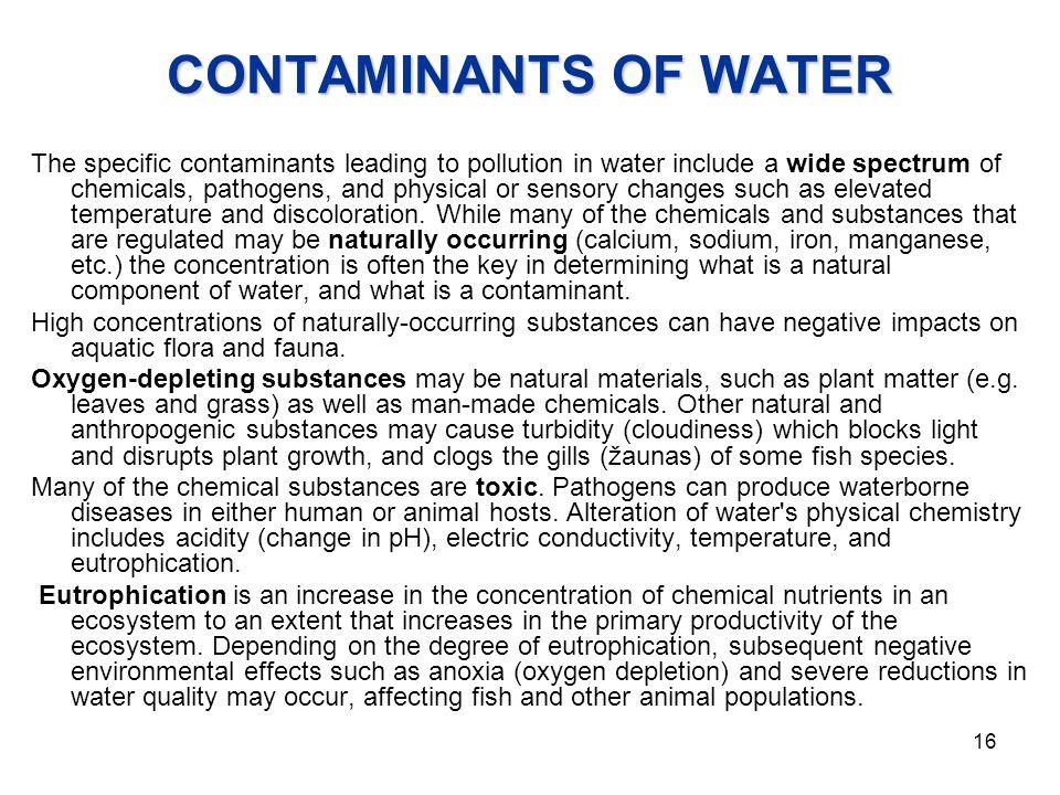 CONTAMINANTS OF WATER