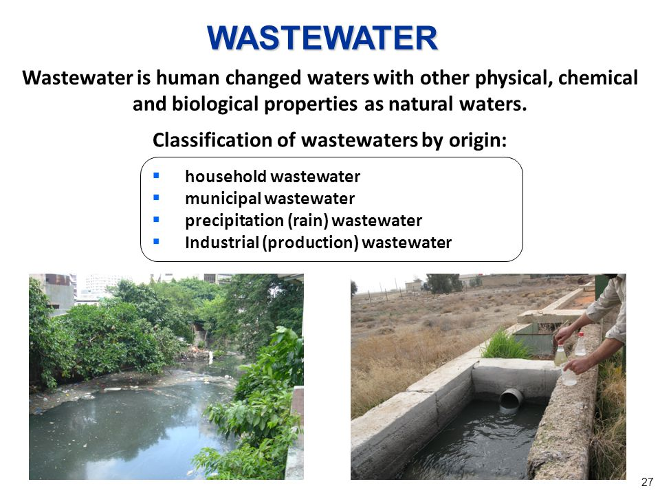 Classification of wastewaters by origin: