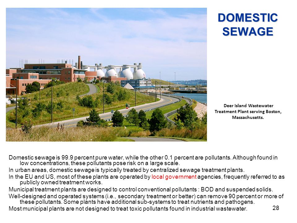 Deer Island Wastewater Treatment Plant serving Boston, Massachusetts.