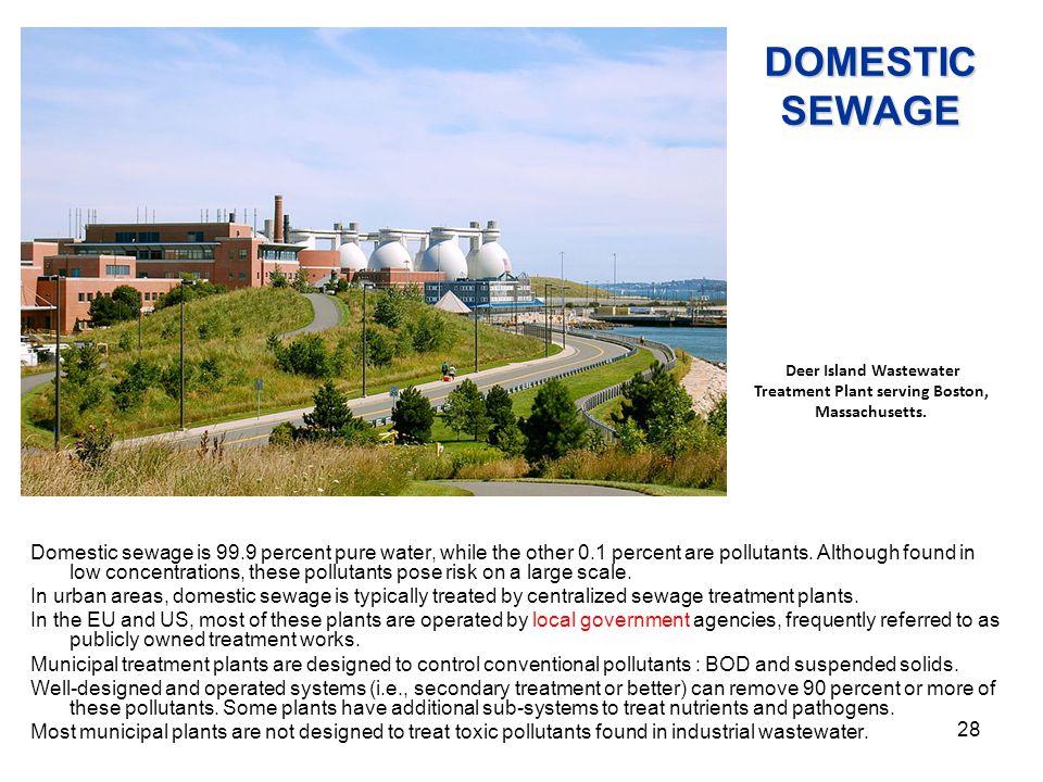 Deer Island Wastewater Treatment Plant serving Boston, Massachusetts.