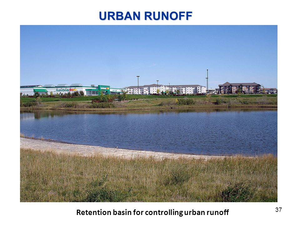 Retention basin for controlling urban runoff